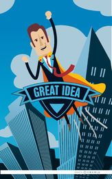 Idea de superhéroe de negocios