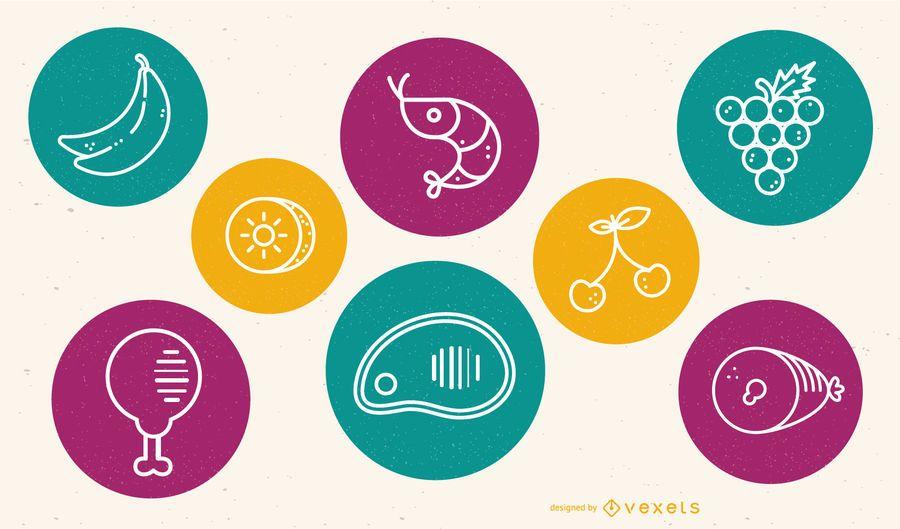 Conjunto de iconos de alimentos esbozado círculos