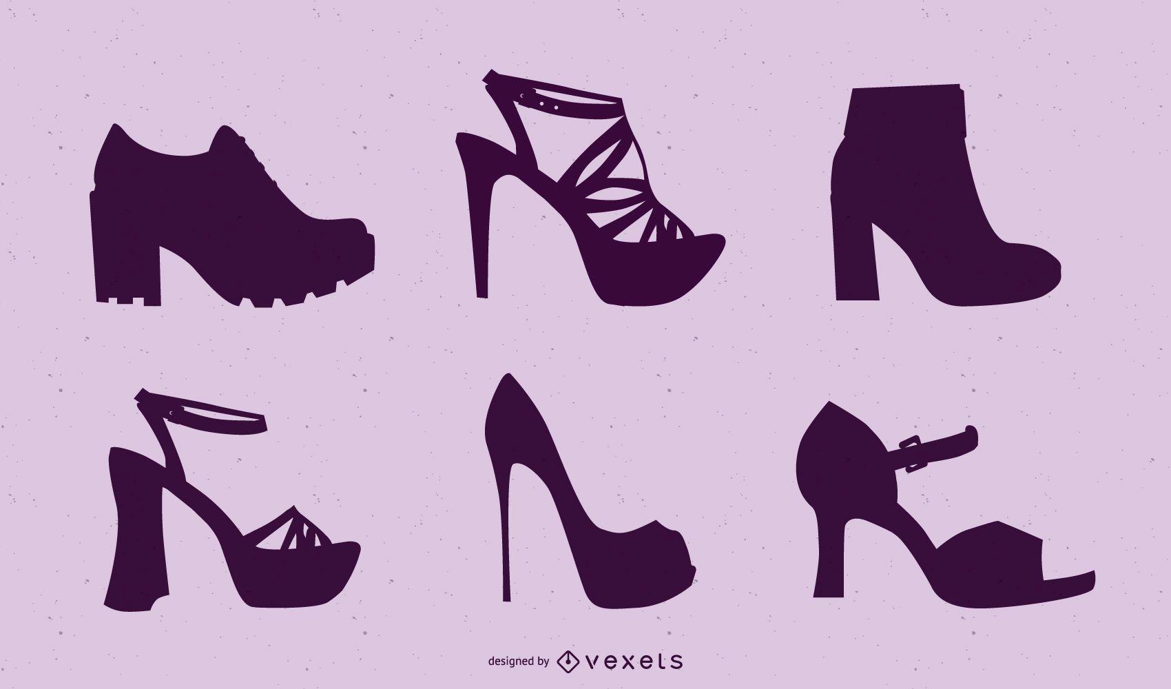 Silhuetas de pacote de sapatos femininos