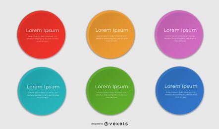 Cuadros de texto redondeados multicolor