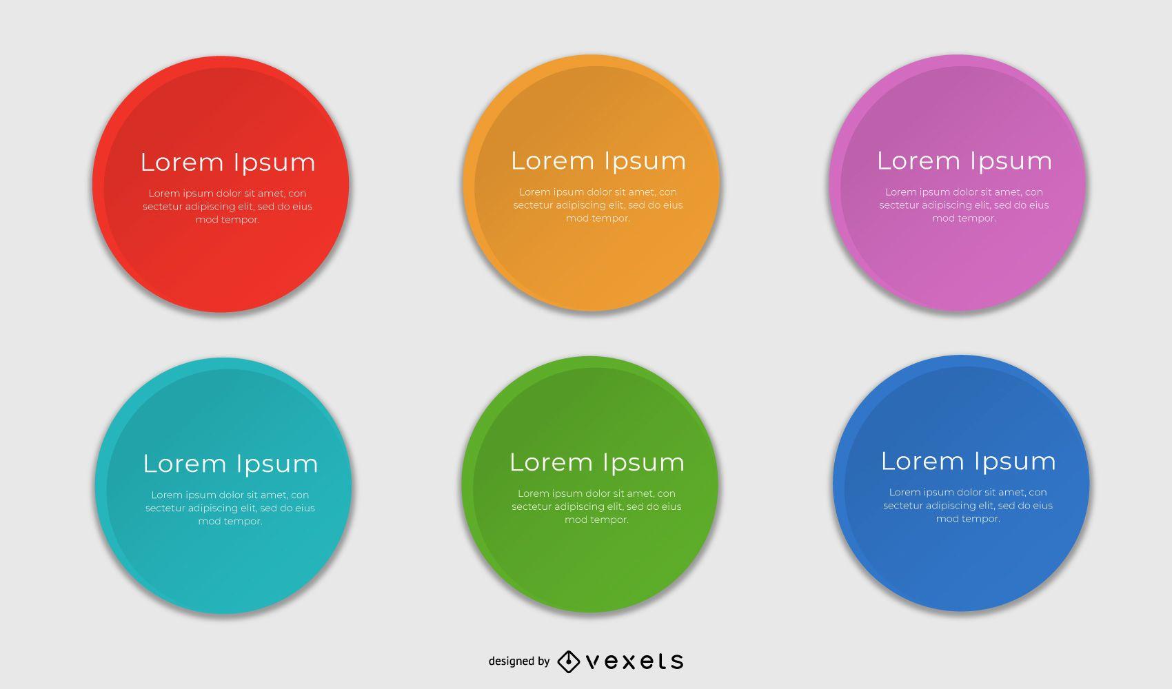 Caixas de texto arredondadas multicoloridas