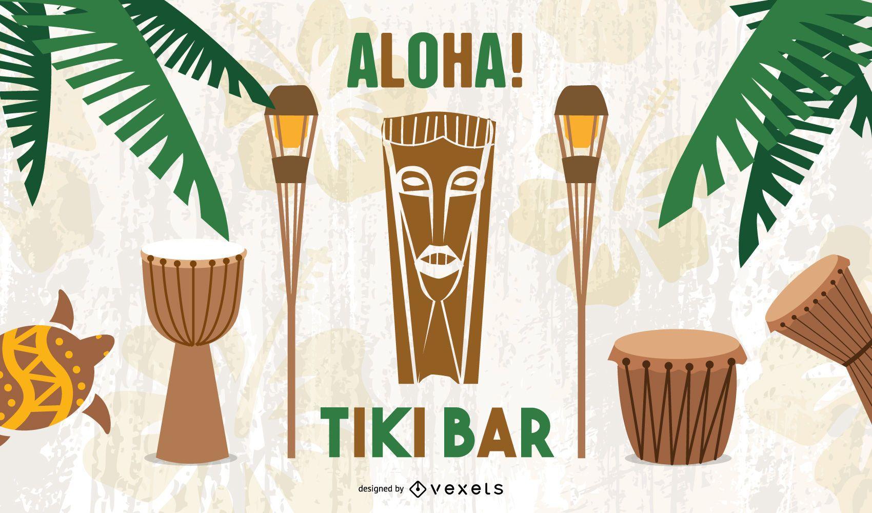 Póster Tiki Bar Retro Aloha