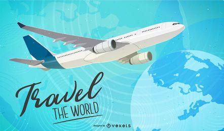 Fundo de grade do mundo de viagens