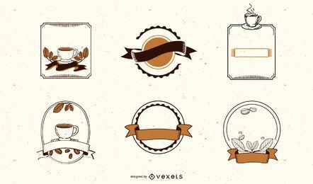 Rótulo de café e conjunto de tags
