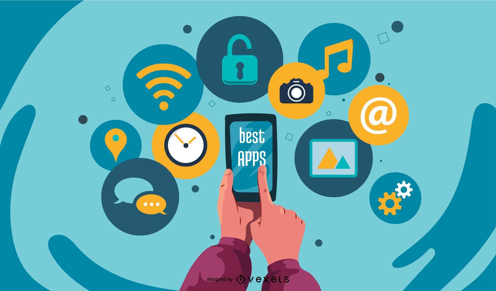 Promoção tecnológica colorida dos melhores aplicativos
