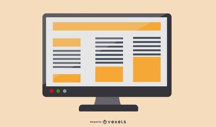 Monitor de diseño de noticias comerciales