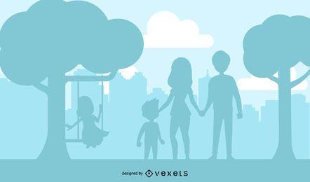 Parque ao ar livre para crianças brincando de silhueta