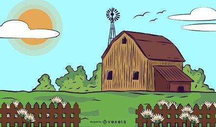 Cerca de piquete de madera casa de campo