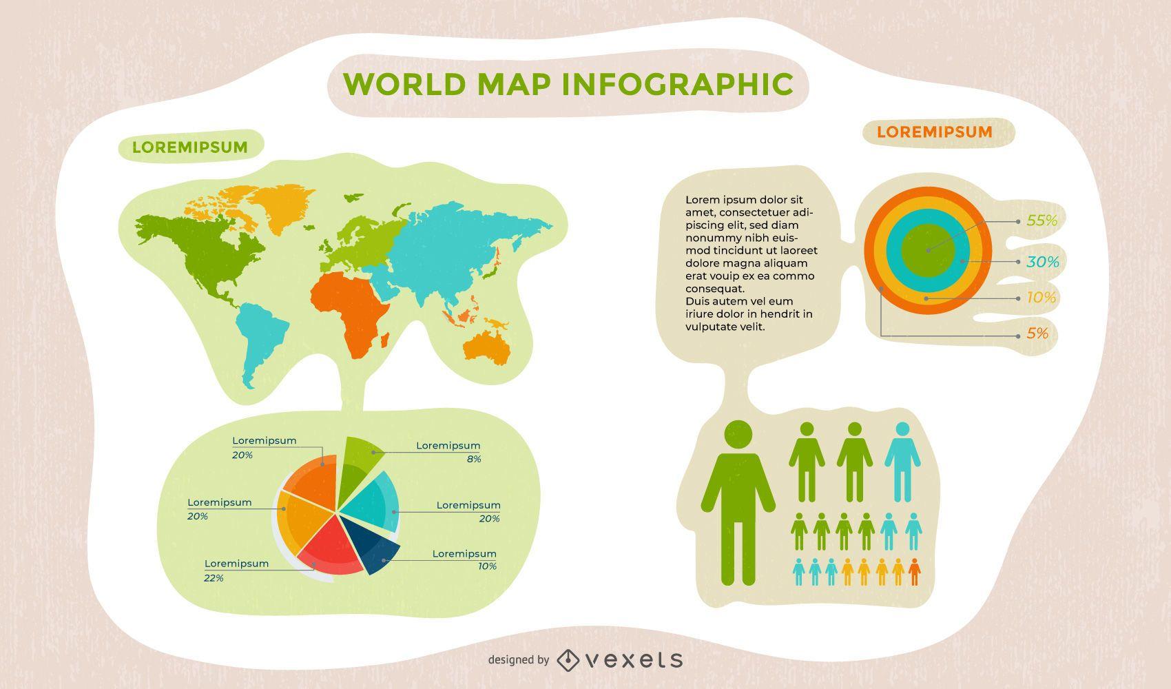 Infografía de mapa mundial de comunicación