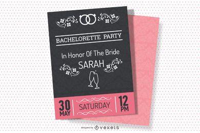 Diseño de invitación de fiesta vintage de despedida de soltera