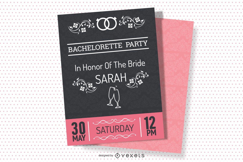 Design de convite para festa vintage de solteira