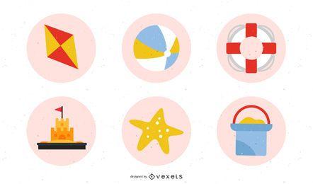 Conjunto de ícones retrô de praia verão