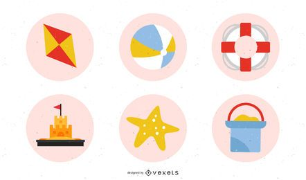 Sommer-Strand Retro-Icon-Set