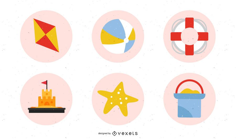 Summer Beach Retro Icon Set