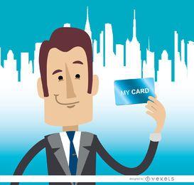 Geschäftsmann, der Kartenskyline hält