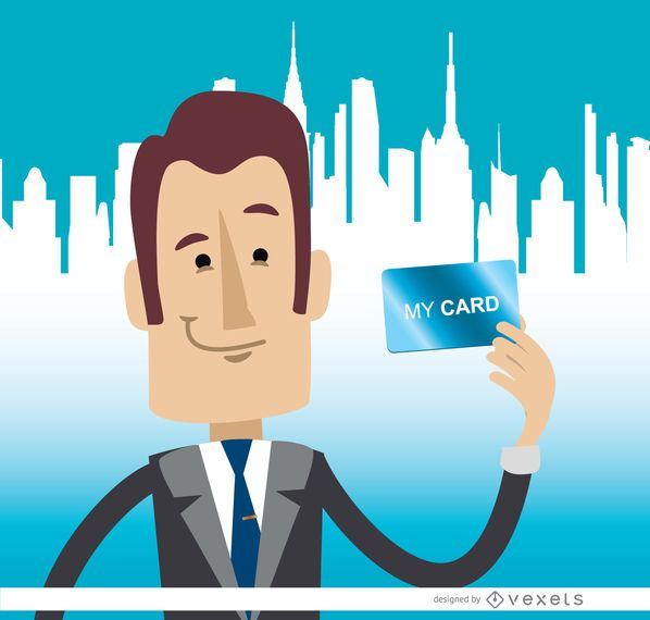 Businessman holding card skyline