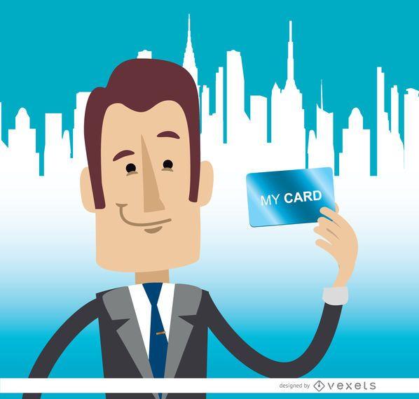 Homem negócios, segurando, cartão, skyline