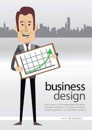 Homem negócios, mostrando, gráfico, skyline