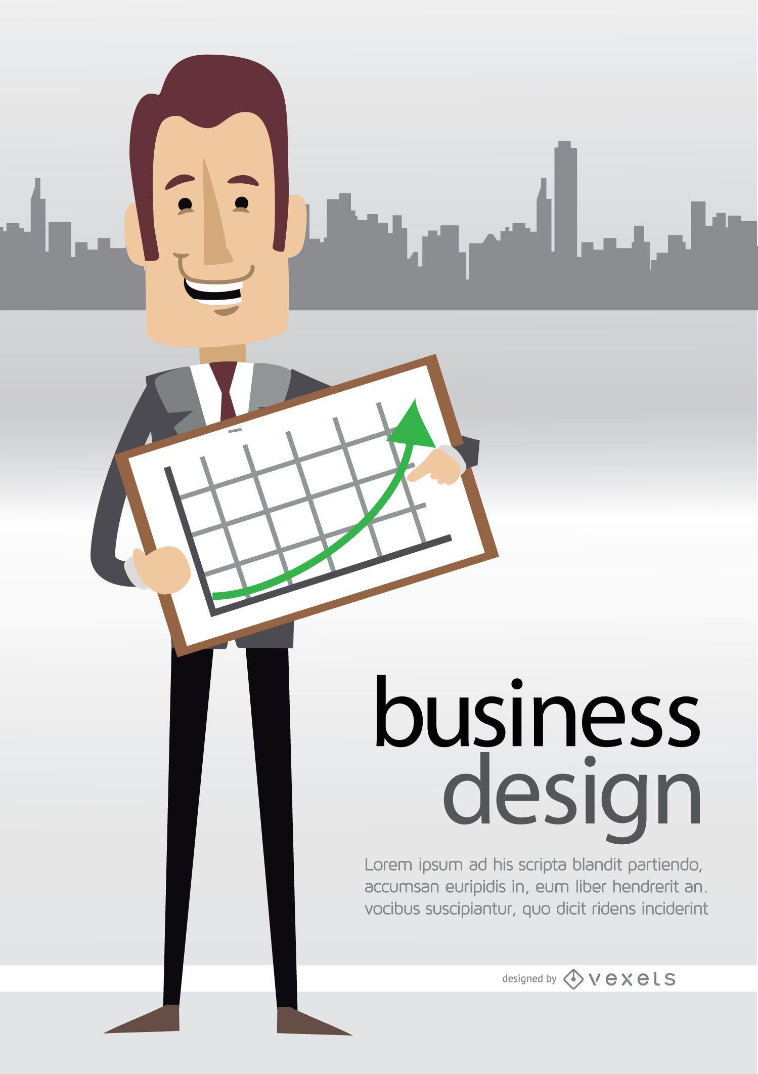 Businessman showing graph skyline