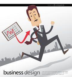Homem negócios, executando, gráfico, skyline