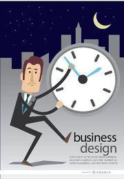 Hombre de negocios reloj tarde en la noche