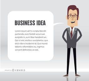 Texto de ideia de homem de negócios
