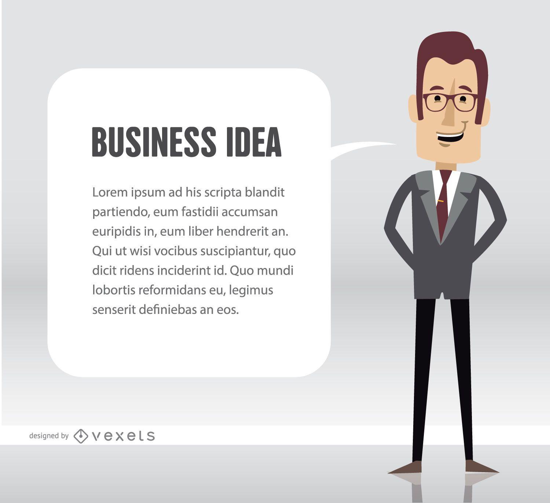 Texto de idea de hombre de negocios