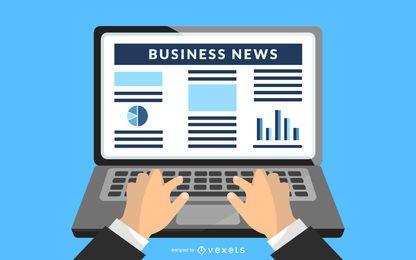 Últimas Notícias de Negócios no Laptop