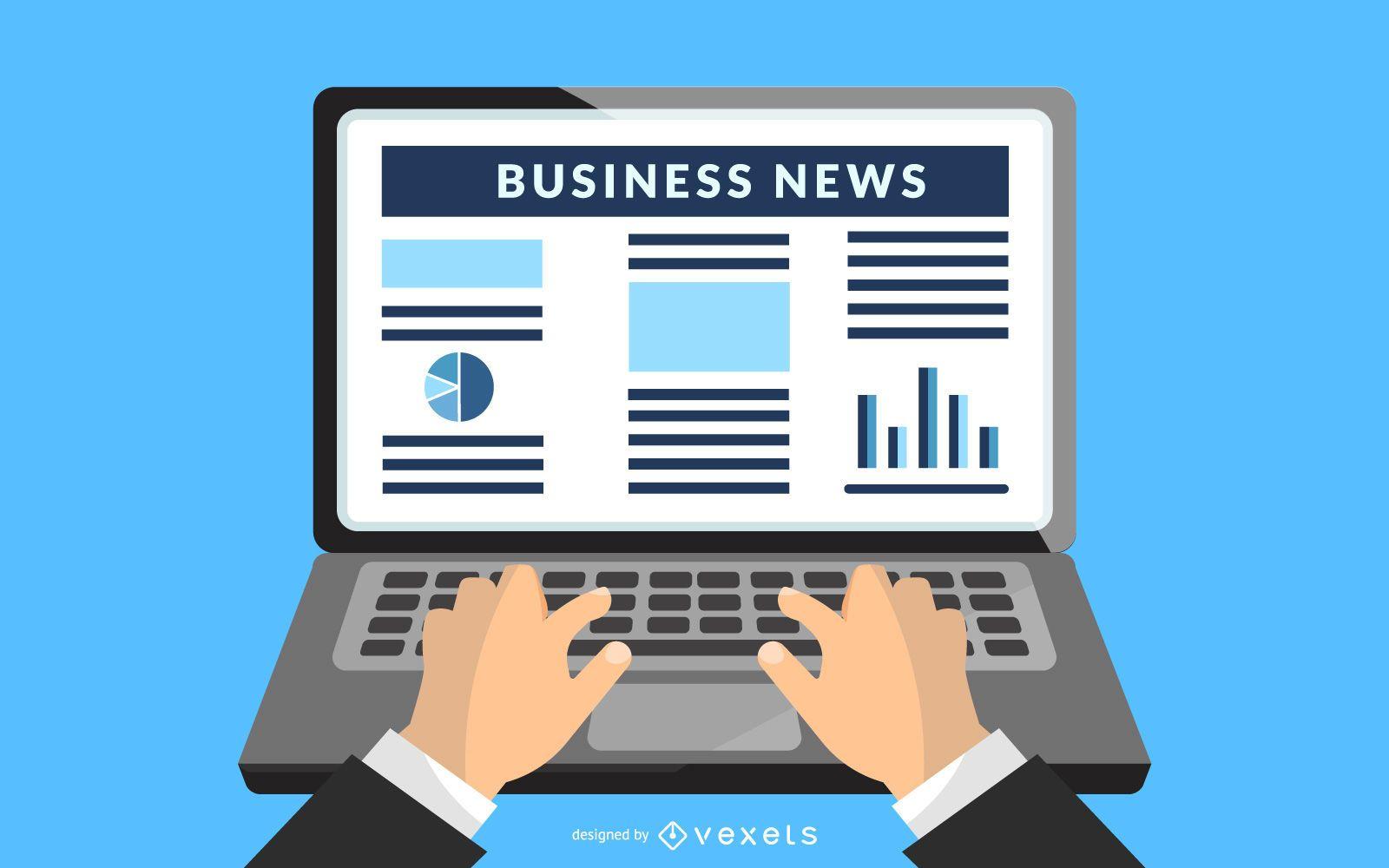 Latest Business News on Laptop