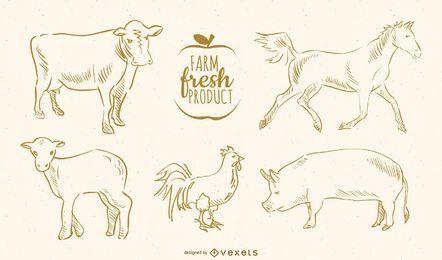Animais de fazenda de mão desenhada