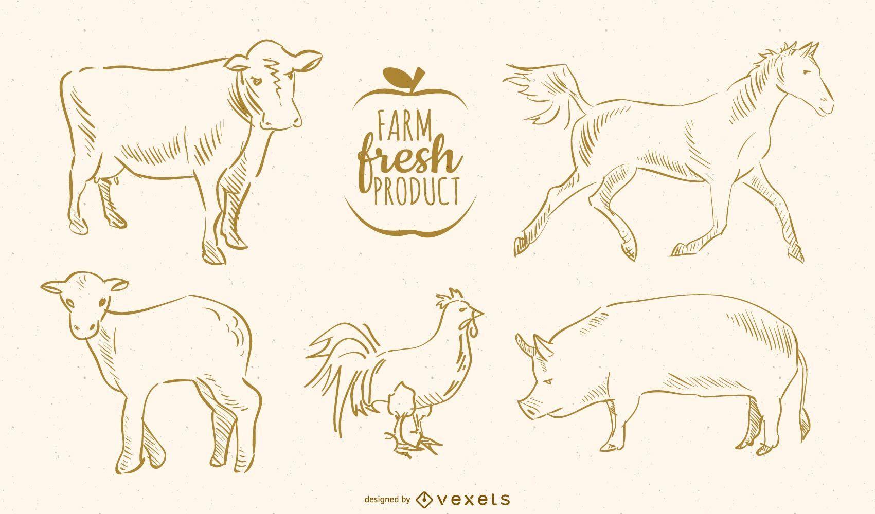 Animais de fazenda desenhados à mão