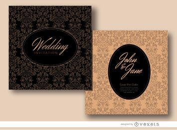 Floral oval wedding invitation