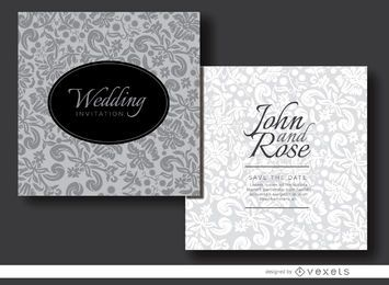 Floral gray invitation sleeve