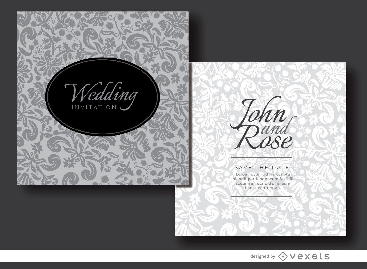 Floral gray invitation sleeve