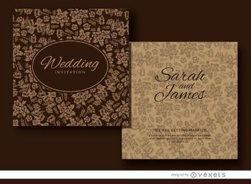 Brown floral wedding invitation design