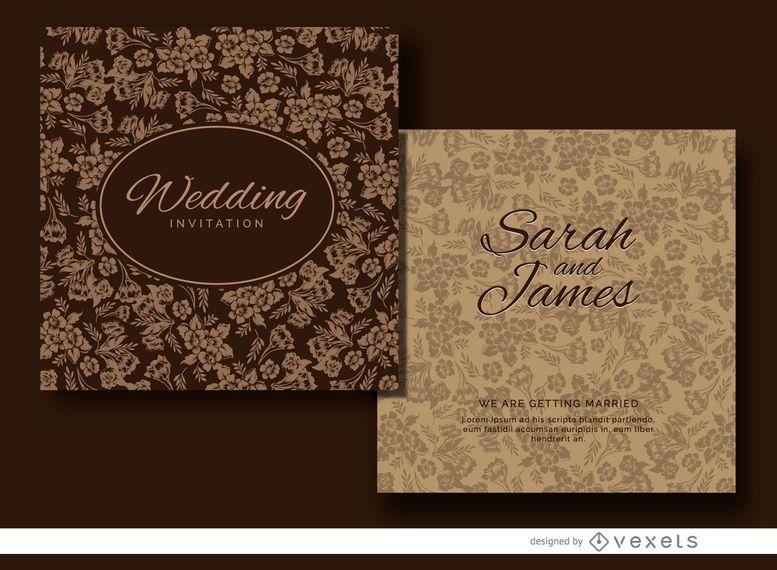 Brown floral wedding invitation design