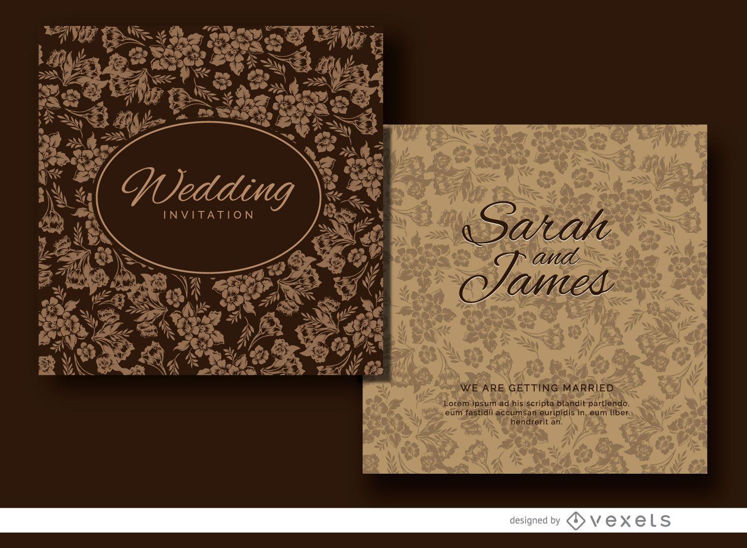 Diseño de invitación de boda floral marrón