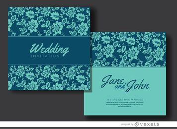 Blue floral marriage invitation