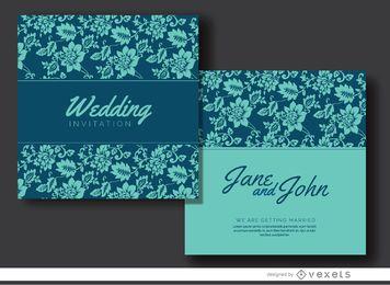 Invitación de matrimonio floral azul