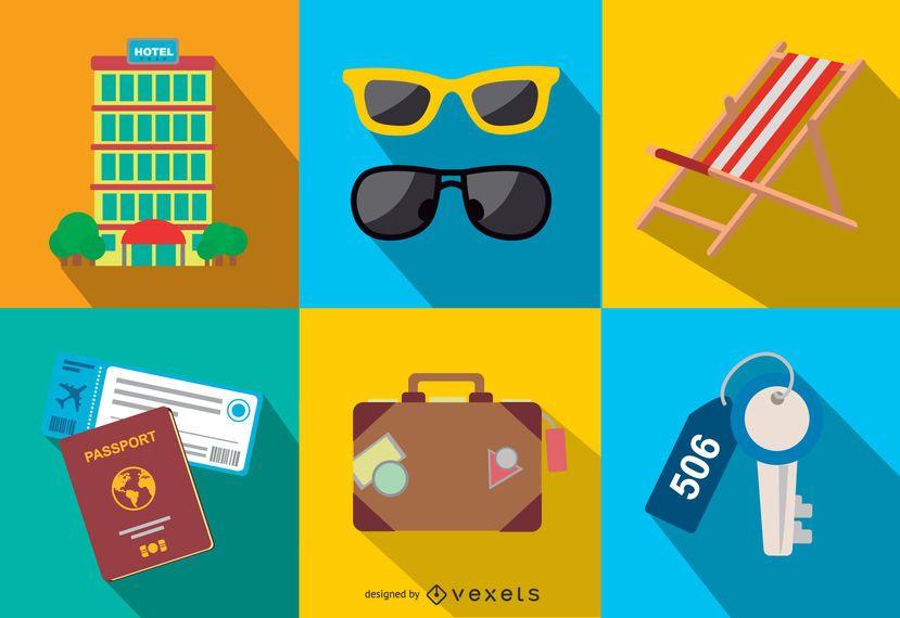 Conjunto mínimo de ícones de viagem e turismo