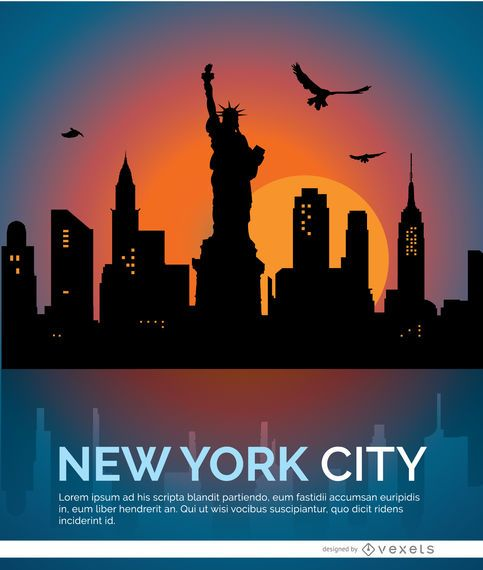 Horizonte de la puesta del sol de nueva york