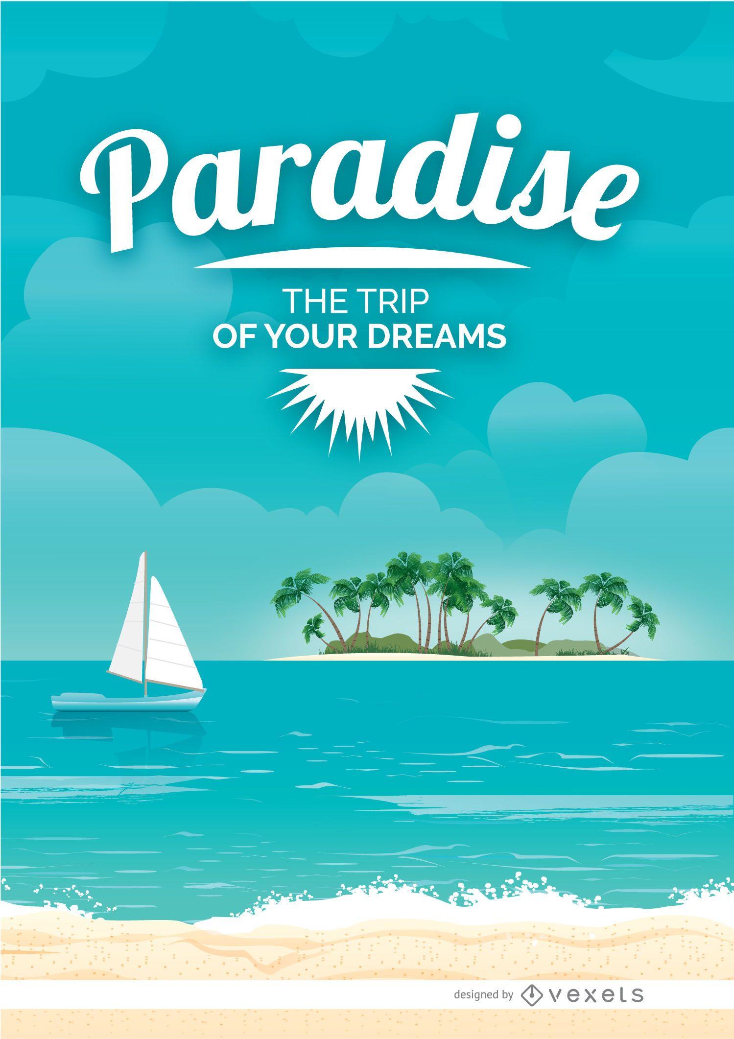 Cartel de vacaciones en la playa paraíso