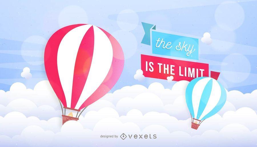 Weinlese-Luftballon-Himmel-Bänder