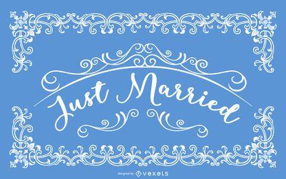 Gerade verheiratete dekorative Vintage Karte