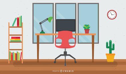 Oficina en casa interior moderna plana