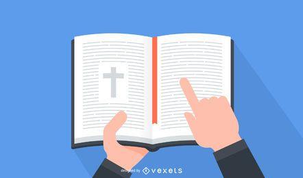 Biblia abierta mínima en las manos