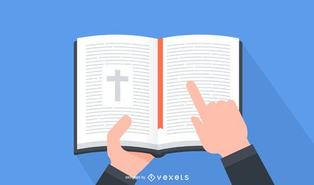 Minimal Open Bible on Hands