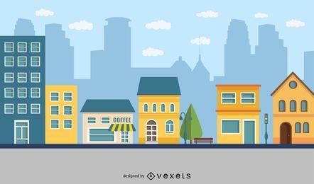 Dibujos animados de ciudad plana cafés al aire libre