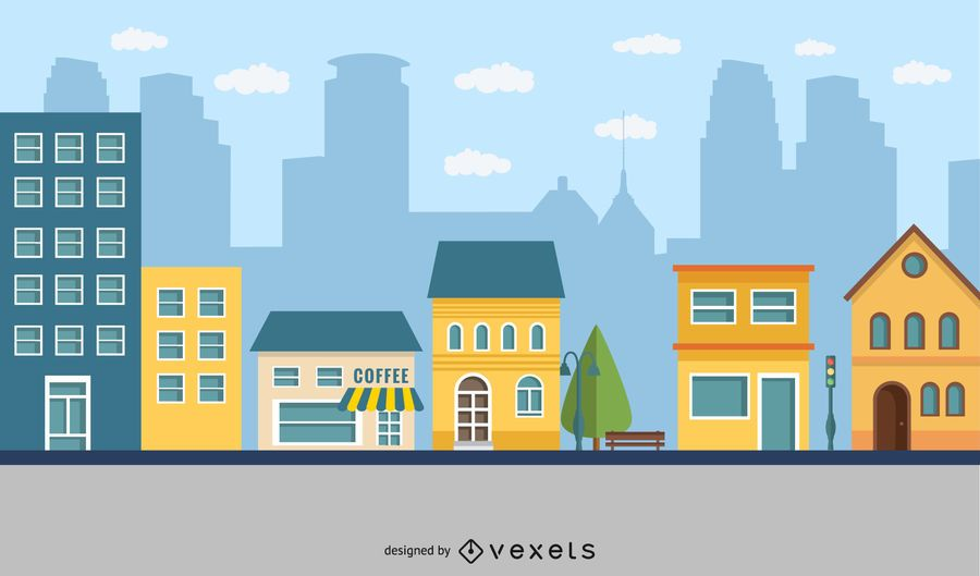 Dibujos animados al aire libre de la ciudad