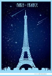Paris Eiffel starry poster